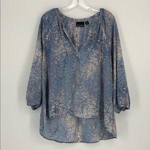 Cynthia Rowley Blue V - Neck Tunic Blouse Size XL